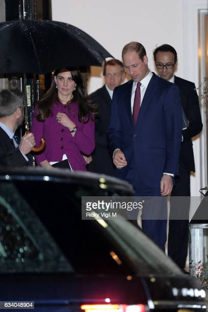 Catherine Duchess of Cambridge and Prince William Duke of Cambridge seen leaving Chandos House on February 6 2017 in London England