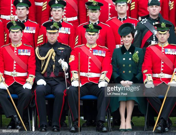Catherine Duchess of Cambridge and Prince William Duke Of Cambridge attend the annual Irish Guards St Patrick's Day Parade at Household Cavalry...