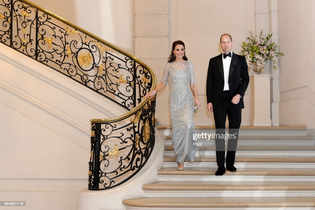 Catherine, Duchess of Cambridge and Prince William, Duke Of Cambridge attend a dinner hosted by Her Majesty's Ambassador to France, Edward Llewellyn, at the British Embassy in Paris, as part of their official visit to the French capital on March 17, 2017 in Paris, France.