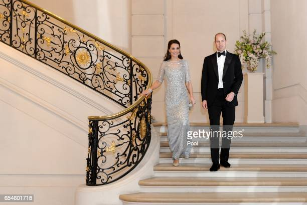 Catherine Duchess of Cambridge and Prince William Duke Of Cambridge attend a dinner hosted by Her Majesty's Ambassador to France Edward Llewellyn at...