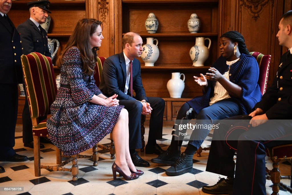Catherine, Duchess of Cambridge and Prince William, Duke of Cambridge visit Les Invalides military hospital where they met some victims of the terror attack on the Bataclan theatre in 2015 during an official two-day visit to Paris on March 18, 2017 in Paris, France.