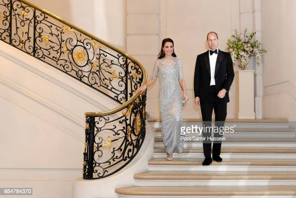 Catherine Duchess of Cambridge and Prince William Duke of Cambridge attend a dinner at the British Embassy on March 17 2017 in Paris France The Duke...