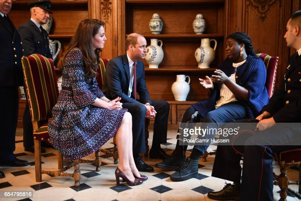 Catherine Duchess of Cambridge and Prince William Duke of Cambridge visit the Invalides on March 18 2017 in Paris France The Duke and Duchess are on...