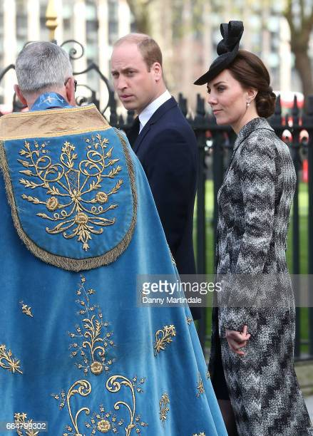 Catherine Duchess of Cambridge and Prince William Duke of Cambridge attends Service of Hope at Westminster Abbey on April 5 2017 in London England...