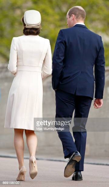 Catherine Duchess of Cambridge and Prince William Duke of Cambridge attend the traditional Easter Sunday church service at St George's Chapel Windsor...