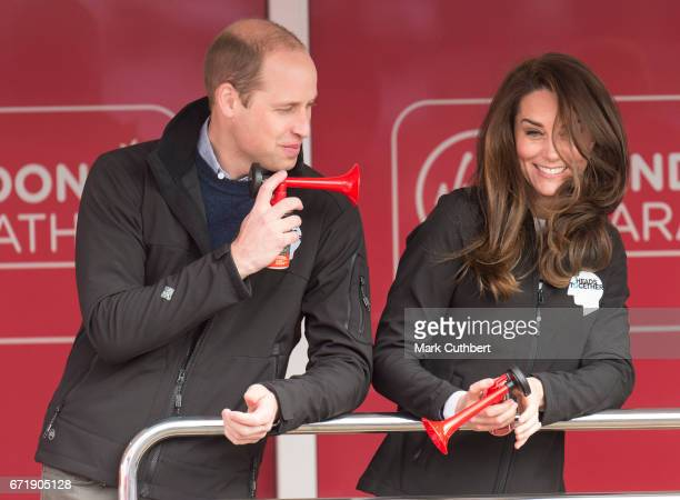 Catherine Duchess of Cambridge and Prince William Duke of Cambridge at the blue start of the 2017 Virgin Money London Marathon on April 23 2017 in...