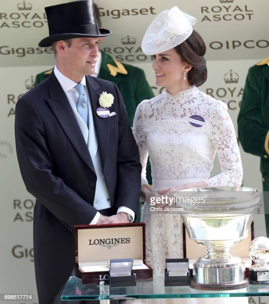 Catherine Duchess of Cambridge and Prince William Duke of Cambridge present The King's Stand Stakes at Royal Ascot 2017 at Ascot Racecourse on June...
