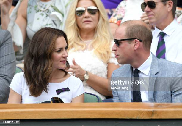 Catherine Duchess of Cambridge and Prince William Duke of Cambridge attend the Mens Singles Final during day thirteen of the Wimbledon Tennis...