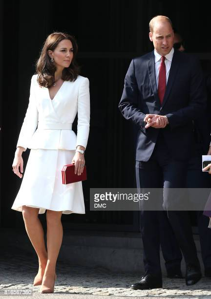 Catherine Duchess of Cambridge and Prince William Duke of Cambridge visit the Warsaw Rising Museum during an official visit to Poland and Germany on...