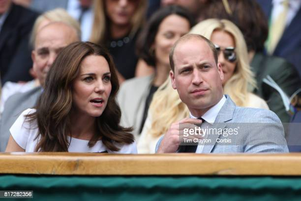 Catherine Duchess of Cambridge and Prince William Duke of Cambridge attend the Mens Singles Final between Roger Federer of Switzerland and Marin...