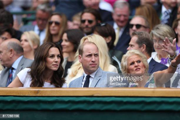 Catherine Duchess of Cambridge and Prince William Duke of Cambridge with Gill Brook at the Mens Singles Final between Roger Federer of Switzerland...