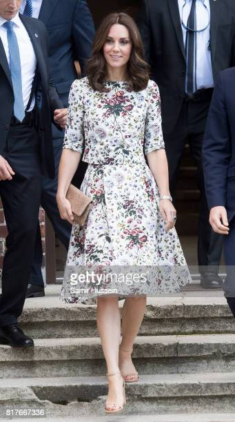 Catherine Duchess of Cambridge and Prince William Duke of Cambridge visit the Stutthof concentration camp during an official visit to Poland and...