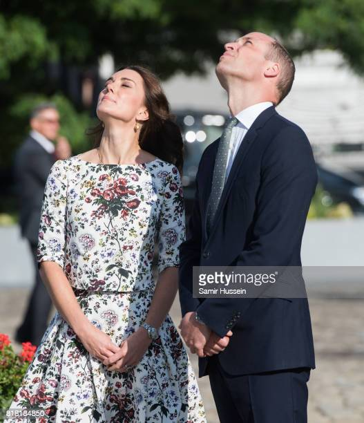 Catherine Duchess of Cambridge and Prince William Duke of Cambridge visit the Solidarity Monument at the European Solidarity Centre during an...