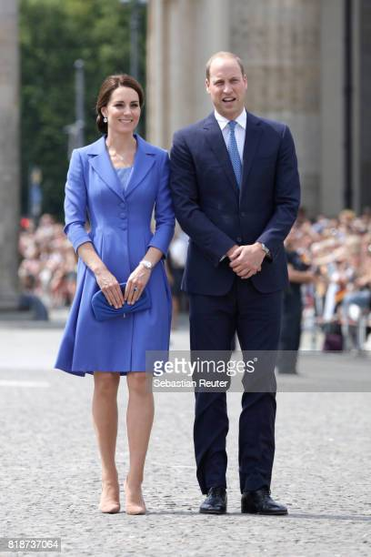 Catherine Duchess of Cambridge and Prince William Duke of Cambridge arrive at the Brandenburg Gate during an official visit to Poland and Germany on...