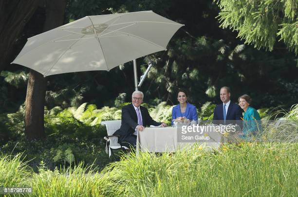 Catherine Duchess of Cambridge and Prince William Duke of Cambridge sit down with German President FrankWalter Steinmeier and Fist Lady Elke...