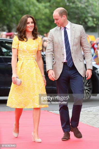 Catherine Duchess of Cambridge and Prince William Duke of Cambridge arrive for a visit of the German Cancer Research Center on the second day of...