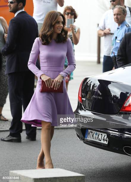 Catherine Duchess of Cambridge and Prince William Duke of Cambridge arrive at Berlin Hauptbahnhof main railway station before taking a train to...