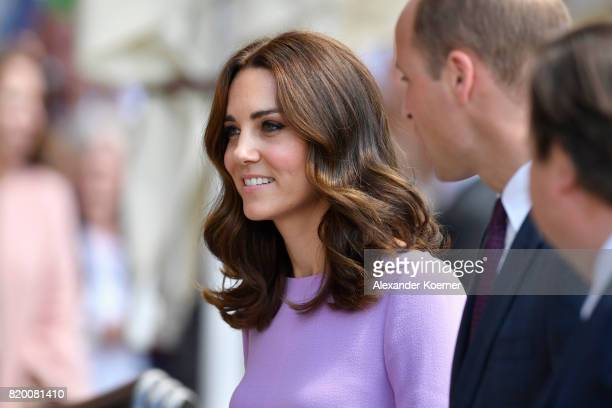 Catherine Duchess of Cambridge and Prince William Duke of Cambridge arrive for a visit of the Maritime Museum on the third and final day of their...