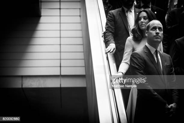 Catherine Duchess of Cambridge and Prince William Duke of Cambridge prepare to board a train for Hamburg at Berlin Hauptbahnhof main railway station...
