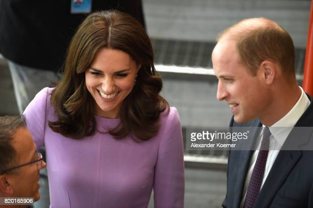 Catherine Duchess of Cambridge and Prince William Duke of Cambridge arrive for a visit of the Airbus training facilities on the third and final day...