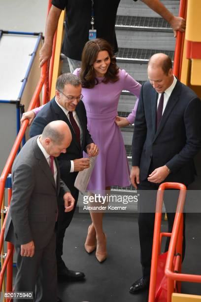 Catherine Duchess of Cambridge and Prince William Duke of Cambridge are seen on a tourof the Airbus training facilities on the third and final day of...
