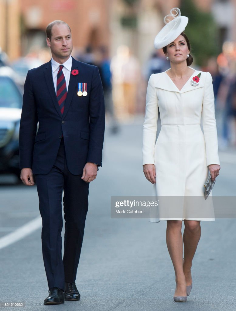 Catherine, Duchess of Cambridge and Prince William, Duke of Cambridge attend the Last Post ceremony at the Commonwealth War Graves Commission Ypres (Menin Gate) Memorial on July 30, 2017 in Ypres, Belgium. The commemorations mark the centenary of Passchendaele - The Third Battle of Ypres.