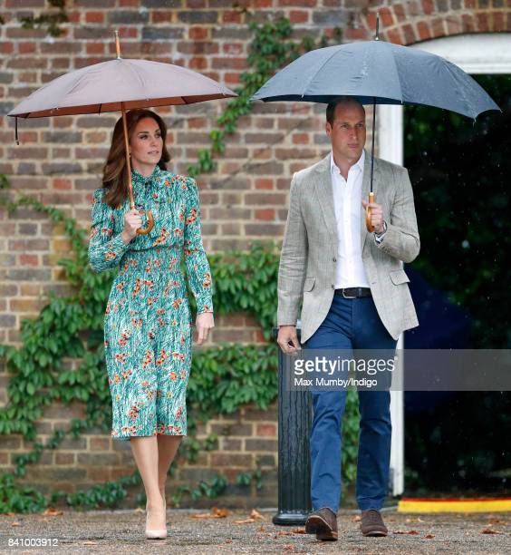 Catherine Duchess of Cambridge and Prince William Duke of Cambridge visit the Sunken Garden in the grounds of Kensington Palace on August 30 2017 in...