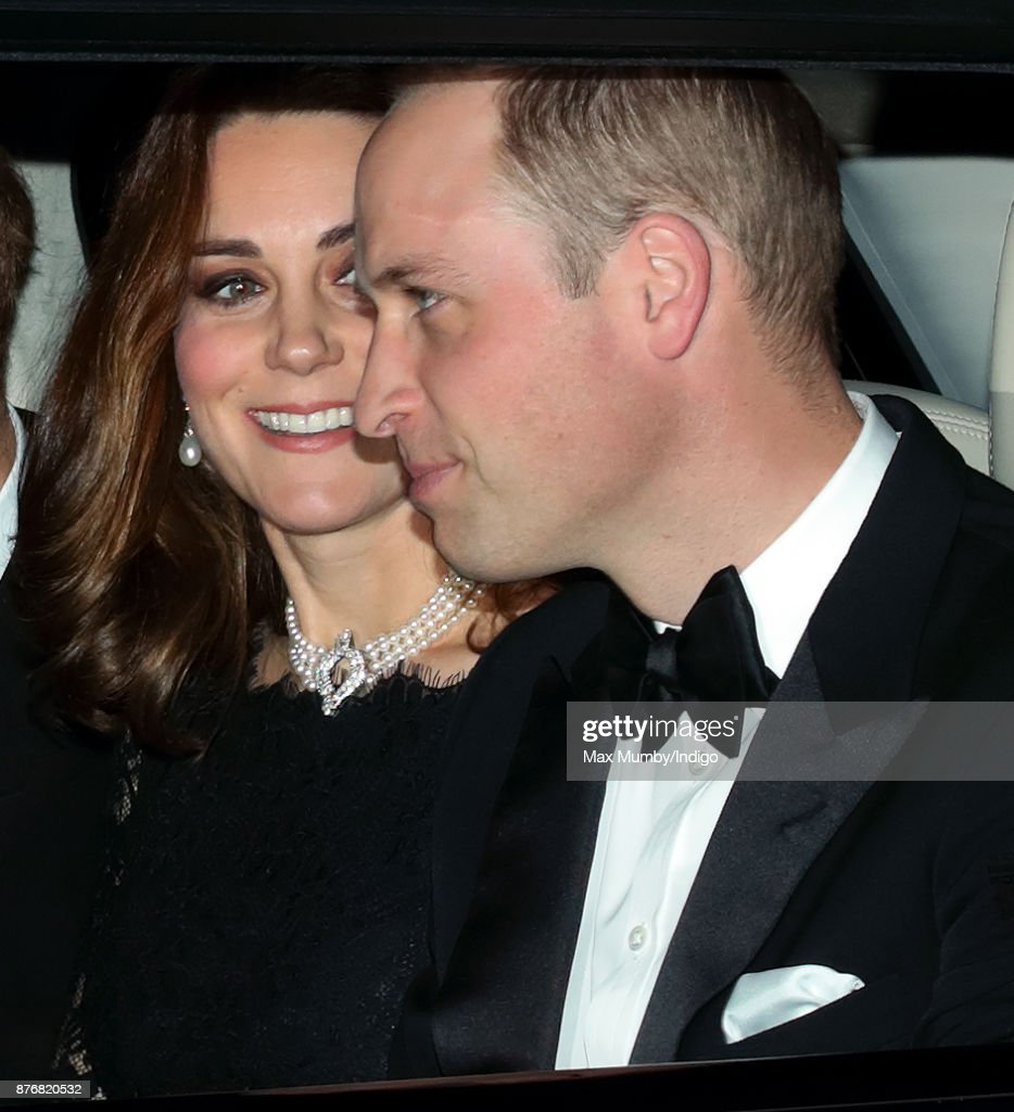 Catherine, Duchess of Cambridge and Prince William, Duke of Cambridge arrive at Windsor Castle to attend Queen Elizabeth II's and Prince Philip, Duke of Edinburgh's 70th wedding anniversary dinner on November 20, 2017 in Windsor, England.