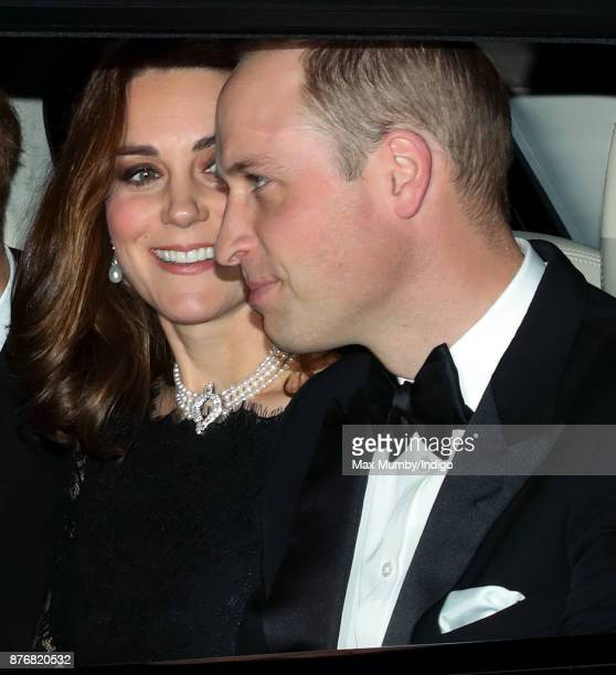 Catherine Duchess of Cambridge and Prince William Duke of Cambridge arrive at Windsor Castle to attend Queen Elizabeth II's and Prince Philip Duke of...
