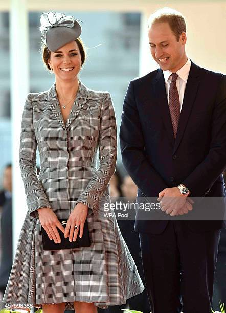 Catherine Duchess of Cambridge and Prince William Duke of Edinburgh are seen during a ceremonial welcome for the President of Singapore at Horse...