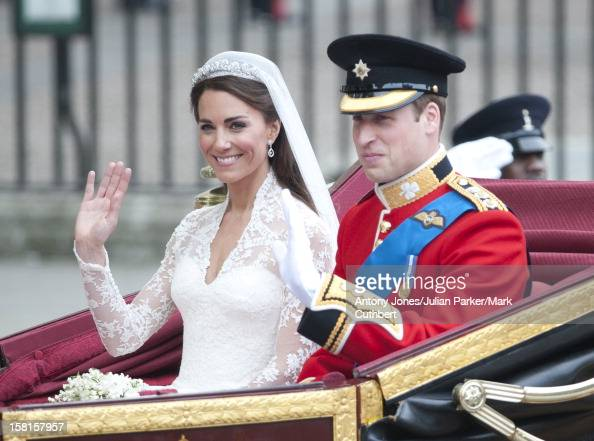 Catherine Duchess Of Cambridge And Prince William Start Their Carriage Ride Back To Buckingham Palace After Their Marriage