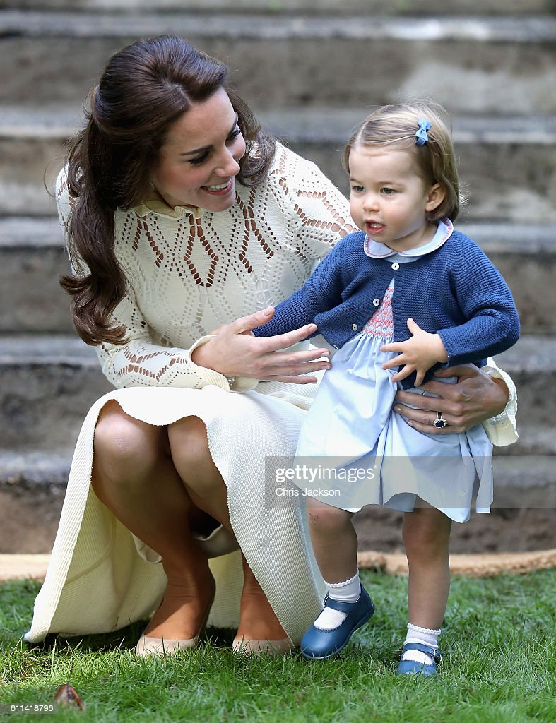 Catherine, Duchess of Cambridge and Princess Charlotte of Cambridge at a children's party for Military families during the Royal Tour of Canada on September 29, 2016 in Victoria, Canada. Prince William, Duke of Cambridge, Catherine, Duchess of Cambridge, Prince George and Princess Charlotte are visiting Canada as part of an eight day visit to the country taking in areas such as Bella Bella, Whitehorse and Kelowna