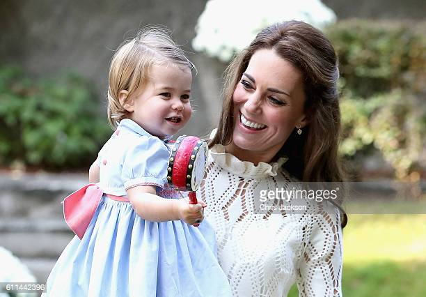 Catherine Duchess of Cambridge and Princess Charlotte of Cambridge at a children's party for Military families during the Royal Tour of Canada on...