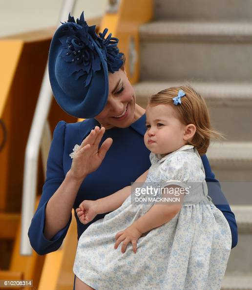 Catherine Duchess of Cambridge and Princess Charlotte of Cambridge arrive at 443 Maritime Helicopter Squadron base on September 24 in Victoria...