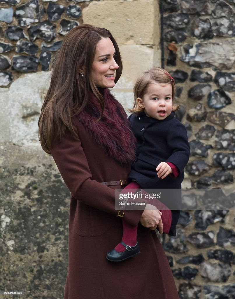 Catherine, Duchess of Cambridge and Princess Charlotte of Cambridge attend Church on Christmas Day on December 25, 2016 in Bucklebury, Berkshire.