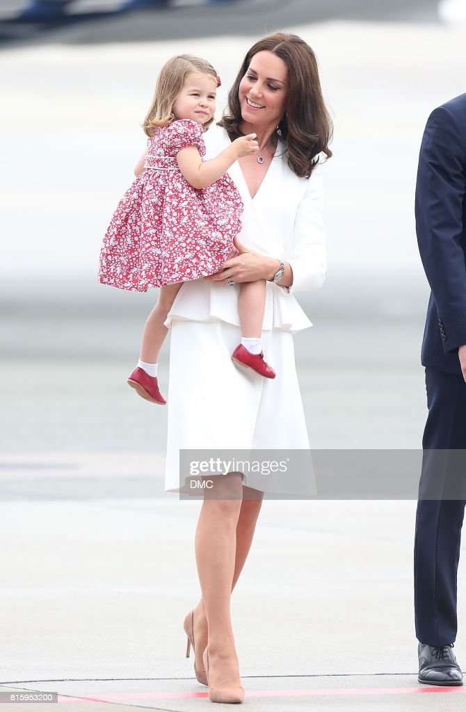 Catherine, Duchess of Cambridge and Princess Charlotte of Cambridge during an official visit to Poland and Germany on July 17, 2017 in Warsaw, Poland.