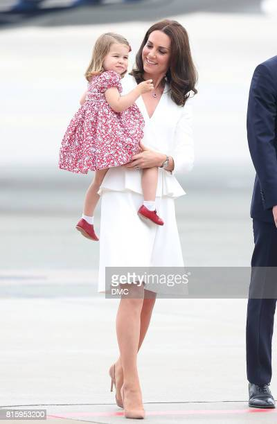 Catherine Duchess of Cambridge and Princess Charlotte of Cambridge during an official visit to Poland and Germany on July 17 2017 in Warsaw Poland