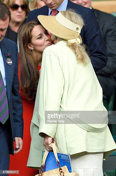 Catherine Duchess of Cambridge and Princess Michael of Kent attend day nine of the Wimbledon Tennis Championships at Wimbledon on July 8 2015 in...