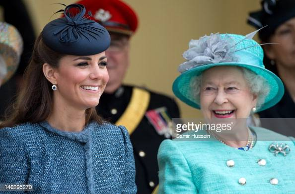 Catherine Duchess of Cambridge and Queen Elizabeth II attend Vernon Park during a Diamond Jubilee visit to Nottingham on June 13 2012 in Nottingham...