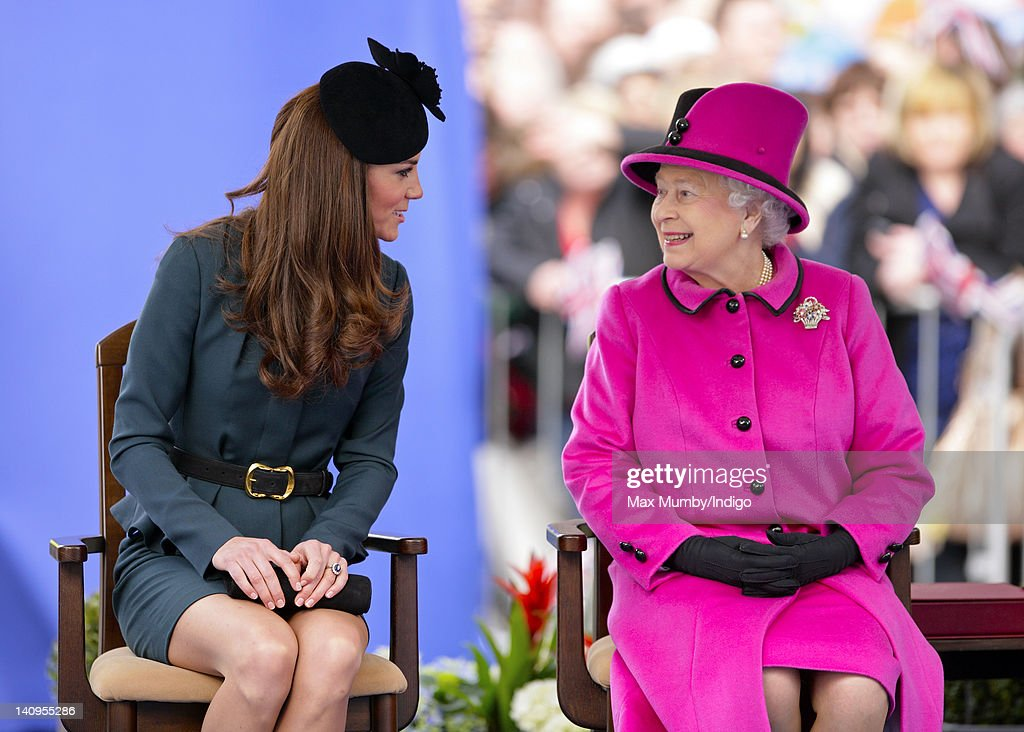 Catherine Duchess of Cambridge and Queen Elizabeth II listen to a speech as they, accompanied by Prince Philip, Duke of Edinburgh, visit Leicester on the first date of Queen Elizabeth II's Diamond Jubilee tour of the UK on March 8, 2012 in Leicester, England.