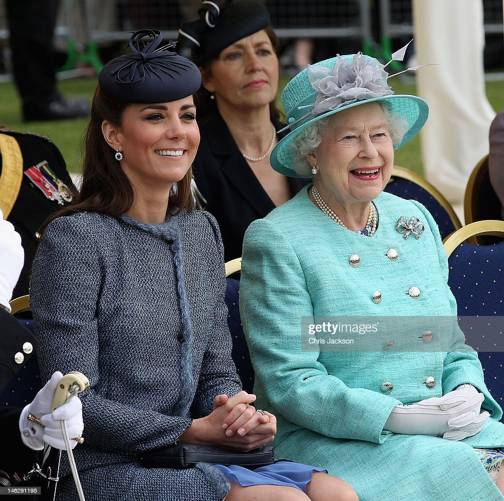 Catherine, Duchess of Cambridge and Queen <a gi-track='captionPersonalityLinkClicked' href=/galleries/search?phrase=Elizabeth+II&family=editorial&specificpeople=67226 ng-click='$event.stopPropagation()'>Elizabeth II</a> smile as they visit Vernon Park during a Diamond Jubilee visit to Nottingham on June 13, 2012 in Nottingham, England.