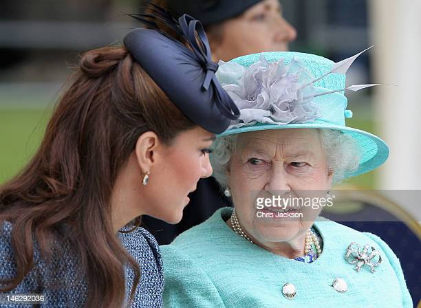 Catherine Duchess of Cambridge and Queen Elizabeth II talk as they visit Vernon Park during a Diamond Jubilee visit to Nottingham on June 13 2012 in...