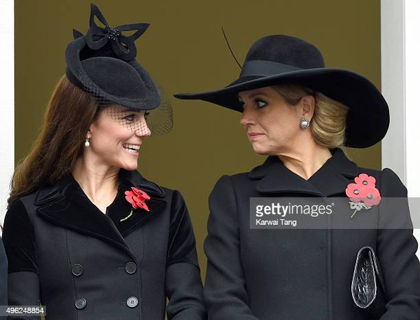 Catherine Duchess of Cambridge and Queen Maxima of the Netherlands attend the annual Remembrance Sunday Service at the Cenotaph Whitehall on November...