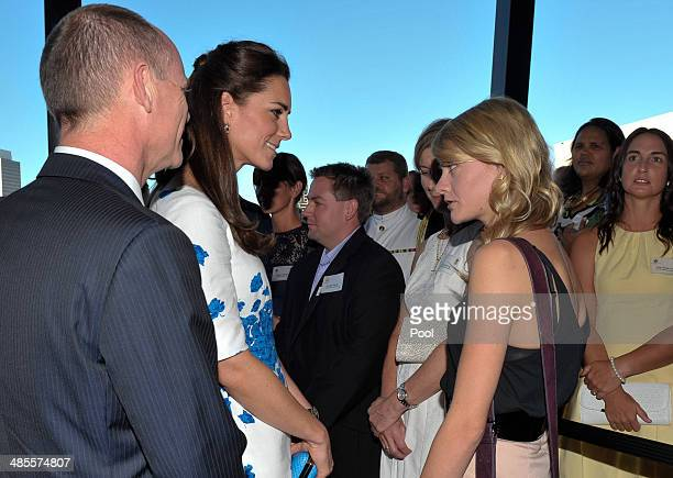 Catherine Duchess of Cambridge and Queensland Premier Campbell Newman speak with Jessica Watson youngest solo aroundtheworld sailor during a...