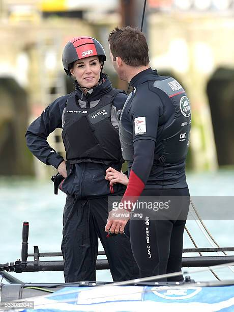 Catherine Duchess of Cambridge and Sir Ben AInslie onboard the Land Rover BAR training boat on May 20 2016 in Portsmouth England