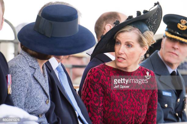 Catherine Duchess of Cambridge and Sophie Countess of Wessex during the dedication and unveiling of The Iraq and Afghanistan memorial on March 9 2017...