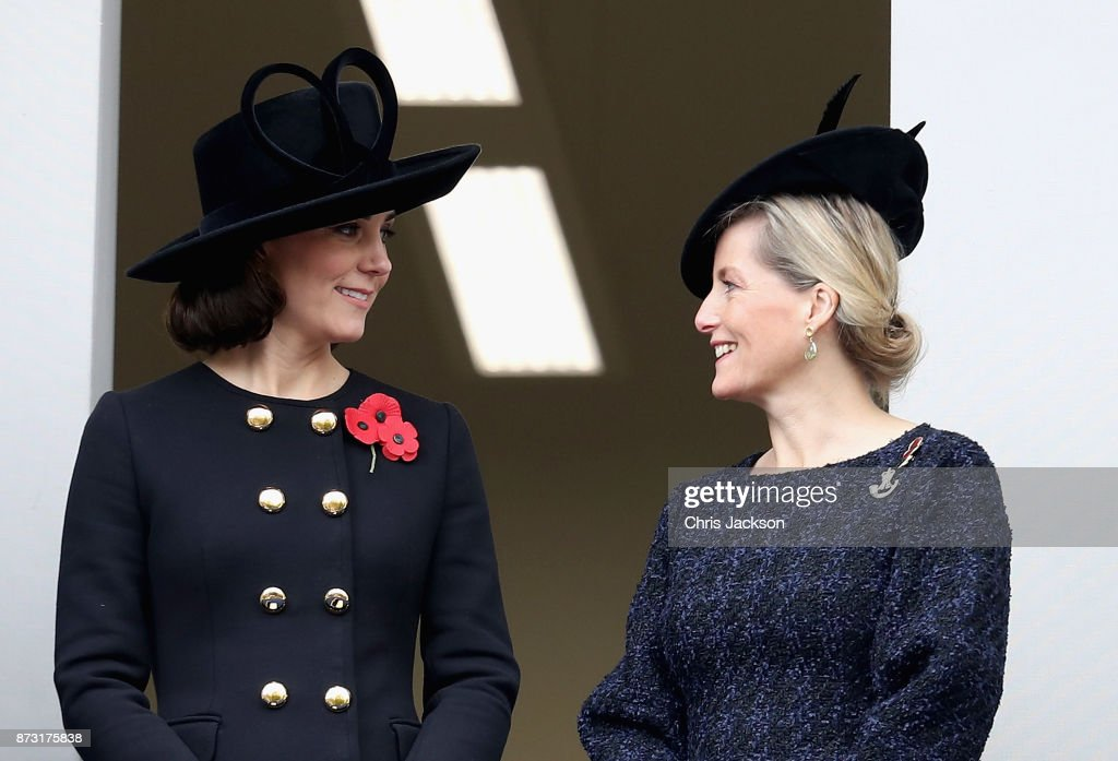 Catherine, Duchess of Cambridge and Sophie, Countess of Wessex during the annual Remembrance Sunday memorial on November 12, 2017 in London, England. The Prince of Wales, senior politicians, including the British Prime Minister and representatives from the armed forces pay tribute to those who have suffered or died at war.