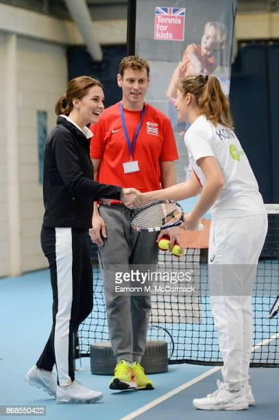 Catherine Duchess of Cambridge and tennis player Johanna Konta visit the Lawn Tennis Association at National Tennis Centre on October 31 2017 in...