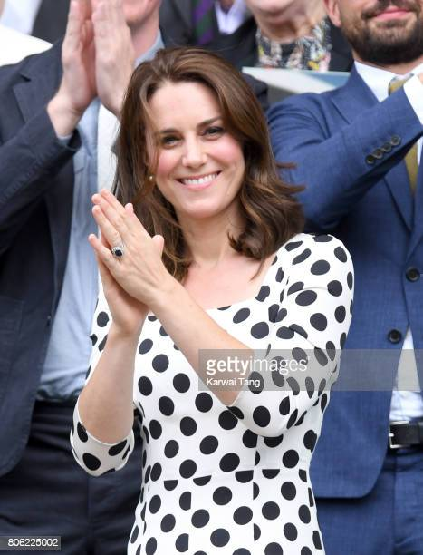 Catherine Duchess of Cambridge applauds after Andy Murray beats Sasha Bublik in the first round on the opening day of Wimbledon 2017 on July 3 2017...
