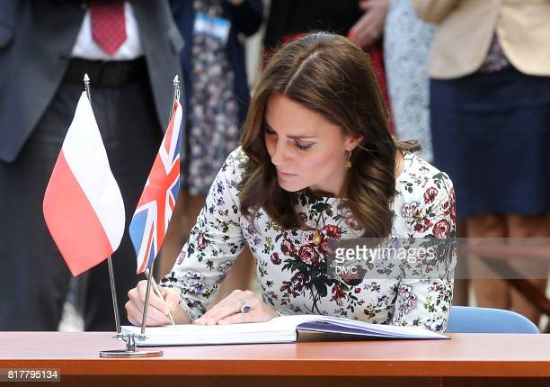 Catherine Duchess of Cambridge are seen at the Stutthof concentration camp during an official visit to Poland and Germany on July 18 2017 in Gdansk...